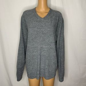 Weatherproof Grey V Neck Sweater Crosshatch Large